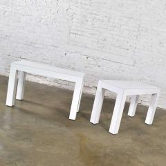 Jean Michel Frank White laminate parsons style side or end tables with glass tops a pair - 1900246