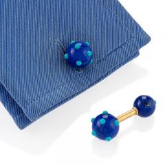 Jean Michel Schlumberger Schlumberger French Mid 20th Century Lapis Lazuli and Turquoise Cuff Links - 384848