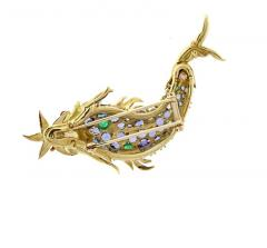 Jean Michel Schlumberger Schlumberger for Tiffany Co Sapphire and Emerald and Emerald Fish Brooch - 458569