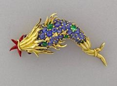 Jean Michel Schlumberger Schlumberger for Tiffany Co Sapphire and Emerald and Emerald Fish Brooch - 458571