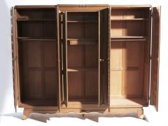 Jean Pascaud French art deco wardrobe in solid oak and brass 1940 s - 990795