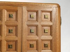 Jean Pascaud French art deco wardrobe in solid oak and brass 1940 s - 990796