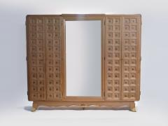 Jean Pascaud French art deco wardrobe in solid oak and brass 1940 s - 990798