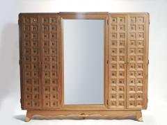 Jean Pascaud French art deco wardrobe in solid oak and brass 1940 s - 990800