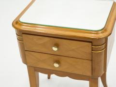 Jean Pascaud French sycamore brass Night Stands 2 drawers by Jean Pascaud 1940s - 1853100