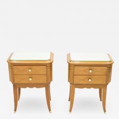 Jean Pascaud French sycamore brass Night Stands 2 drawers by Jean Pascaud 1940s - 1853800