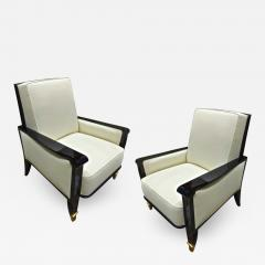 Jean Pascaud Jean Pascaud documented pair of black lacquered arm chairs with gold end leg - 1457413