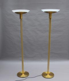 Jean Perzel 2 Fine French Mid Century Bronze and Glass Floor Lamps by Perzel - 2004629