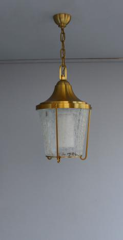 Jean Perzel A Pair of Hanging Bronze and craquel glass Lanterns by Jean Perzel - 2067093