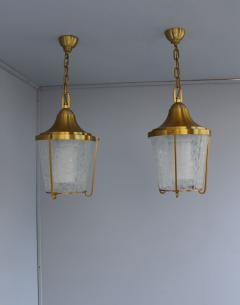 Jean Perzel A Pair of Hanging Bronze and craquel glass Lanterns by Jean Perzel - 2067095