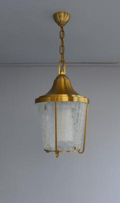 Jean Perzel A Pair of Hanging Bronze and craquel glass Lanterns by Jean Perzel - 2067110