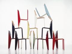 Jean Prouv Jean Prouv Standard Chair in Dark Oak and Ecru White Metal for Vitra - 753349