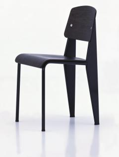 Jean Prouv Jean Prouv Standard Chair in Dark Oak and Ecru White Metal for Vitra - 753351