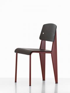Jean Prouv Jean Prouv Standard Chair in Dark Oak and Ecru White Metal for Vitra - 753357