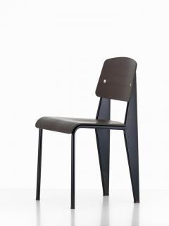 Jean Prouv Jean Prouv Standard Chair in Dark Oak and Ecru White Metal for Vitra - 753361