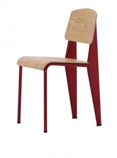 Jean Prouv Jean Prouv Standard Chair in Dark Oak and Ecru White Metal for Vitra - 753365