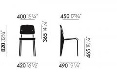 Jean Prouv Jean Prouv Standard Chair in Dark Oak and Ecru White Metal for Vitra - 753369