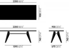 Jean Prouv Jean Prouv Table Solvay in Dark Smoked Oak for Vitra - 751327