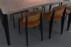 Jean Prouv Jean Prouve dining suite Granito table with six Metropole chairs 1950s - 1172906
