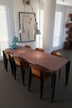 Jean Prouv Jean Prouve dining suite Granito table with six Metropole chairs 1950s - 1172915