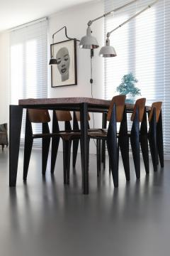 Jean Prouv Jean Prouve dining suite Granito table with six Metropole chairs 1950s - 1172916
