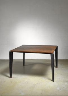 Jean Prouv Jean Prouve metal Flavigny dining table with oak top France 1940s - 1108429