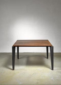Jean Prouv Jean Prouve metal Flavigny dining table with oak top France 1940s - 1108432