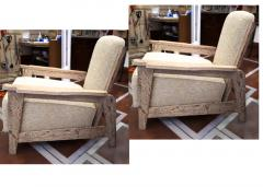 Jean Prouv Style of Prouve cerused oak lounge chairs with reclining back - 1058945