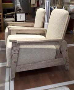 Jean Prouv Style of Prouve cerused oak lounge chairs with reclining back - 1058961