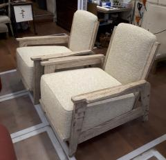 Jean Prouv Style of Prouve cerused oak lounge chairs with reclining back - 1058962
