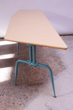 Jean Prouv Vintage French Modern Laminated Plywood and Steel Adjustable Writing Table - 1765146