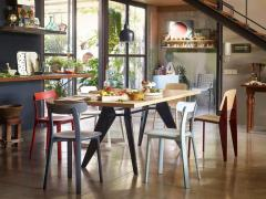 Jean Prouv Vitra EM Table in Asphalt HPL and Coffee by Jean Prouv  - 988662