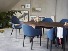 Jean Prouv Vitra EM Table in Solid Smoked Oak and Coffee by Jean Prouv  - 988874