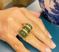 Jean Puiforcat Puiforcat Art Deco Nephrite Jade and Gold Ring with Sterling Silver Shank - 2052749