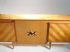 Jean Roy re French Mid century Large modernist oak sideboard Royere style 1950s - 983673