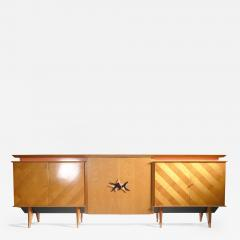 Jean Roy re French Mid century Large modernist oak sideboard Royere style 1950s - 986534