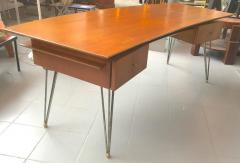 Jean Roy re Jean Roy re Documented Superb Curved Two Drawers Desk with Metal Legs - 383009