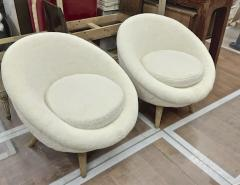 Jean Roy re Jean Royere Genuine documented pair of model Oeuf covered in wool faux fur - 1436482