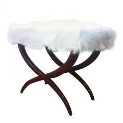 Jean Roy re Jean Royere Goat Hair X Shaped Stool - 383021