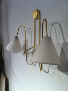 Jean Roy re Jean Royere Gold Leaf Iron Pair of Sconces - 605613