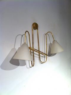 Jean Roy re Jean Royere Gold Leaf Iron Pair of Sconces - 605614