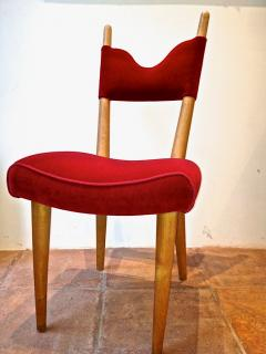 Jean Roy re Jean Royere Pair of Documented Chairs Covered in Red Velvet - 377315