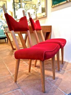 Jean Roy re Jean Royere Pair of Documented Chairs Covered in Red Velvet - 377317