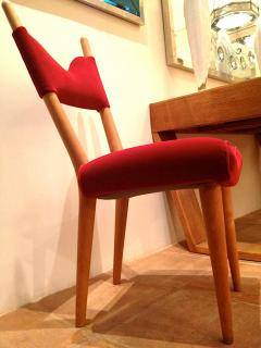 Jean Roy re Jean Royere Pair of Documented Chairs Covered in Red Velvet - 377320