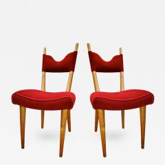 Jean Roy re Jean Royere Pair of Documented Chairs Covered in Red Velvet - 378246