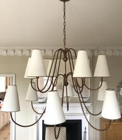 Jean Roy re Jean Royere documented 12 light gold leaf metal chandelier - 1061890
