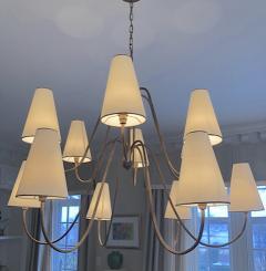 Jean Roy re Jean Royere documented 12 light gold leaf metal chandelier - 1061892