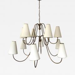 Jean Roy re Jean Royere documented 12 light gold leaf metal chandelier - 1063271