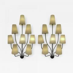 Jean Roy re Jean Royere documented 8 light pair of model Persanne sconces - 1063207