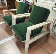 Jean Roy re Jean Royere documented pair of cerused oak lounge chairs - 1459914